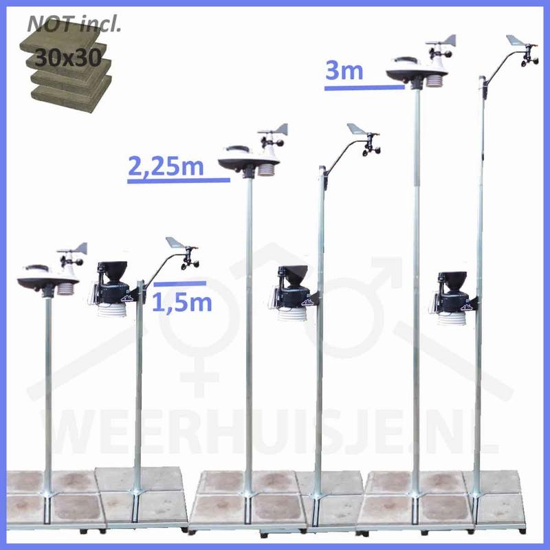 WH-TVflex-150 Tegelvoet mast 150cm. Verlengbaar.